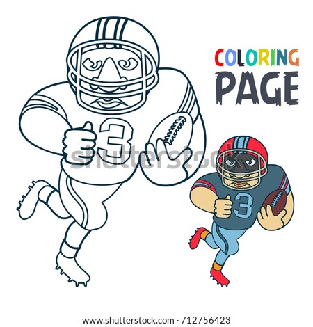 Coloring Page Rugby Football Player Cartoon Stock Vector 712756423 ...