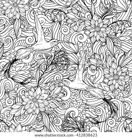 Coloring Page With Seamless Pattern Of Flowers And Hummingbirds