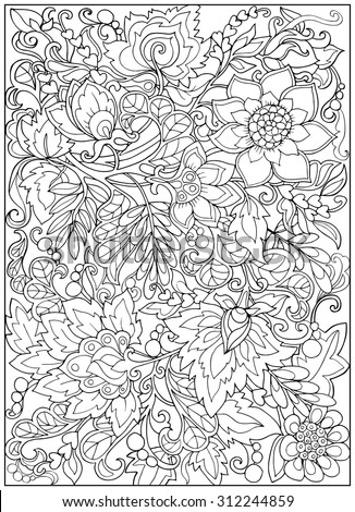 Coloring Page Vintage Flowers Pattern Stock Vector ...