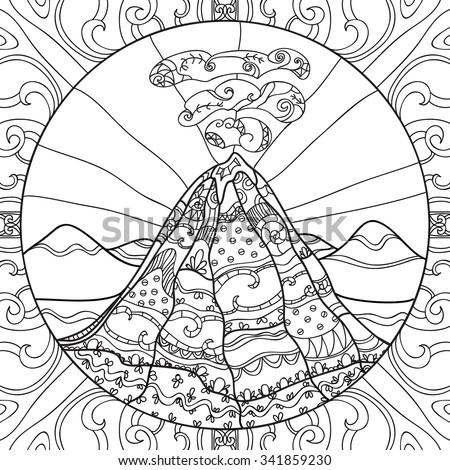 coloring page with volcano and abstract pattern hand drawn graphic illustration