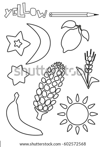 Coloring Page Yellow Things Set Single Color Worksheets Sun Star Lemon
