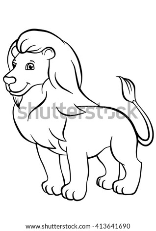 Coloring Pages Animals Cute Lion Stands And Smiles