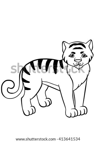 Coloring pages. Animals. Little cute tiger stands and smiles. - stock vector