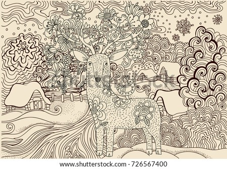 Coloring PagesBeautiful Winter Landscape In The VillageKids Page