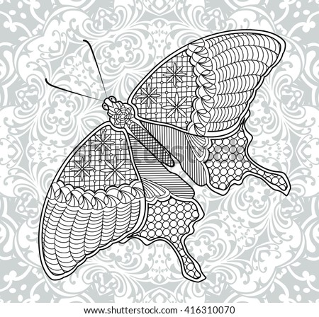 Coloring Pages Butterfly On Background Mandala Stock Vector ...