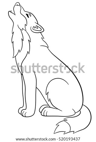 coloring pages cute beautiful wolf sits and howling