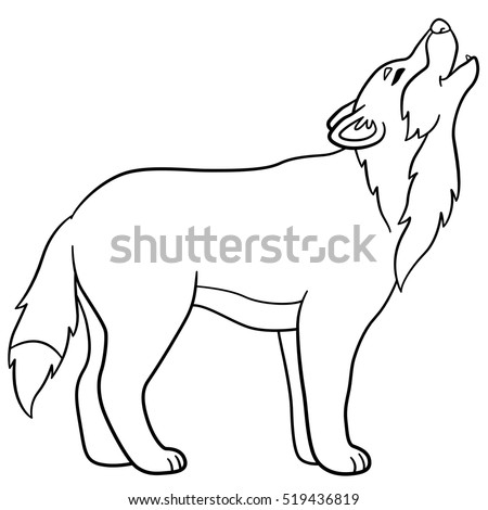 Coloring Pages Cute Beautiful Wolf Stands Stock Vector 519436819 ...