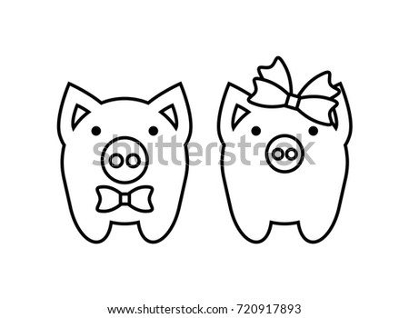 Coloring Pages Cute Pigs Couple Boy Stock Vector 720917893 ...