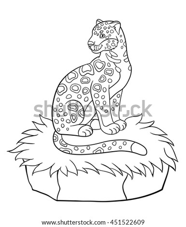 Coloring Pages Cute Spotted Jaguar Sits Stock Vector Royalty Free