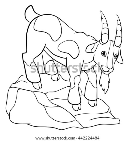 Coloring Pages Farm Animals Cute Billy Goat Stands On The Stone And Smiles