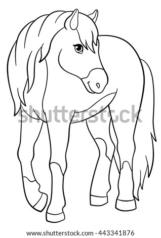 Coloring Pages Farm Animals Cute Horse Stock Vector 443341876 ...