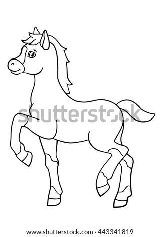 Coloring Pages Farm Animals Little Cute Stock Vector 443341819 ...