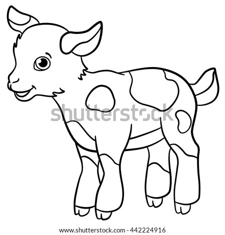 Coloring Pages Farm Animals Little Cute Stock Vector 442224916 ...