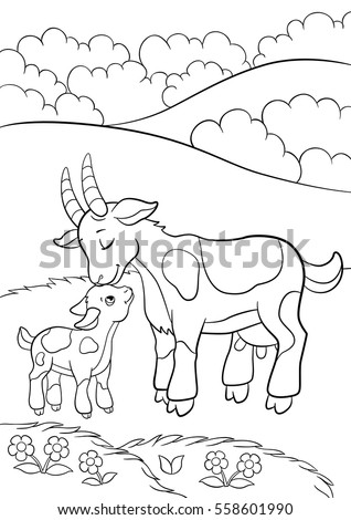 Coloring Pages Farm Animals Mother Goat Stock Vector HD (Royalty ...