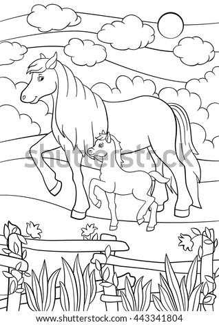 Coloring Pages Farm Animals Mother Horse Walks With Her Little Cute Foal On The