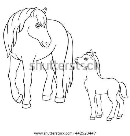 coloring pages farm animals mother horse stock vector royalty free