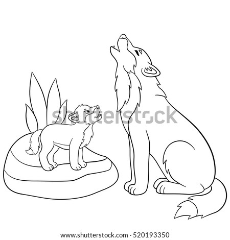 coloring pages father wolf howls with his little cute baby