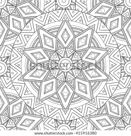 Coloring pages for adults. Coloring book.Decorative hand drawn doodle nature ornamental mandala vector sketchy seamless pattern.Islam, Arabic, Indian, turkish, pakistan, chinese, ottoman motifs - stock vector
