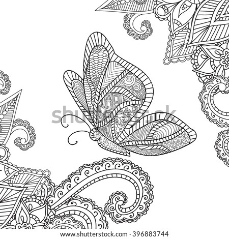 Coloring pages for adults.Doodles Abstract Floral Design Elements with a butterfly,Mandala,Vector Illustration.Coloring book. - stock vector