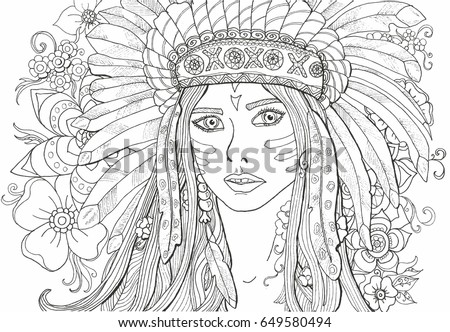 Coloring Pages Adults Girl Indian Decoration Stock Vector ...