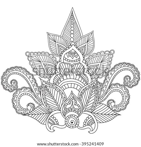 Coloring pages adults henna mehndi doodles lager vektor for Henna coloring pages