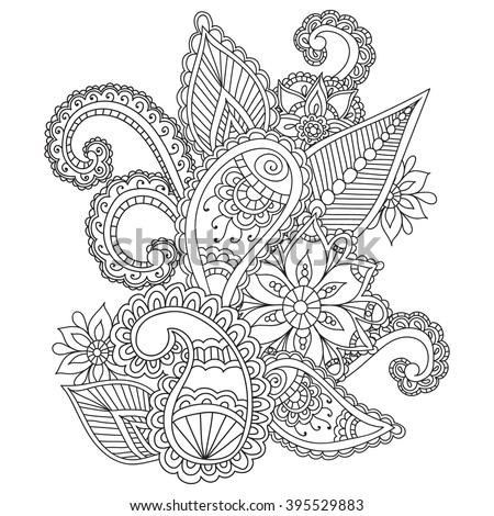 Coloring Pages For Adults Henna Mehndi Doodles Abstract Floral Paisley Design Elements Mandala
