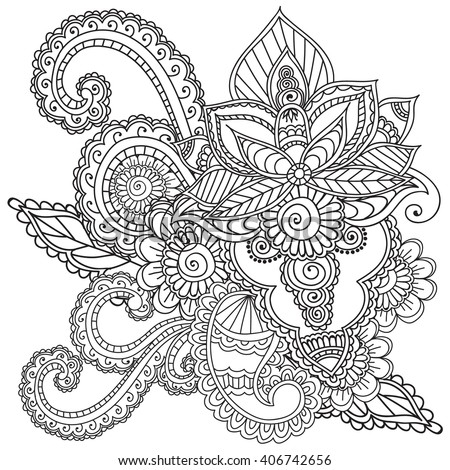 Coloring Pages Adults Henna Mehndi Doodles Stock Vector
