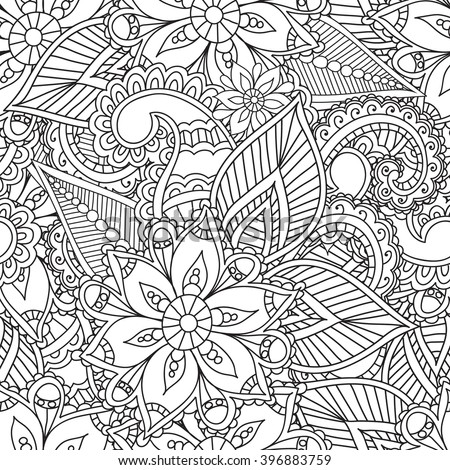 Coloring Pages Adults Seamless Pattern Henna Mehendi