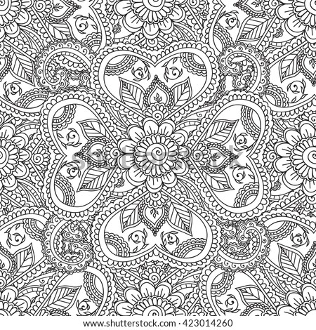 Henna pattern stock images royalty free images vectors for Henna coloring pages