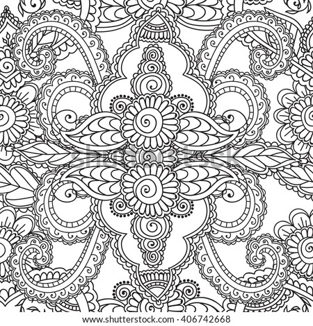 Coloring Pages For Adults. Seamless Pattern.Henna Mehndi Doodles,zentangle  Abstract Floral Paisley