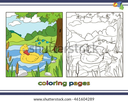 Coloring Pages For Children Duck On The Lake Vector Book Nature Landscape
