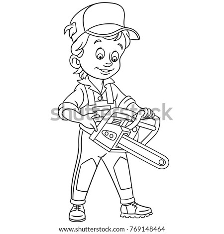 Petrol saw stock images royalty free images vectors for Chainsaw coloring pages