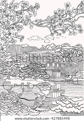 Coloring pages .Japan - stock vector
