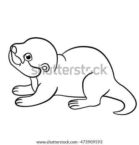 coloring pages little cute baby otter stands and smiles - Otter Coloring Pages