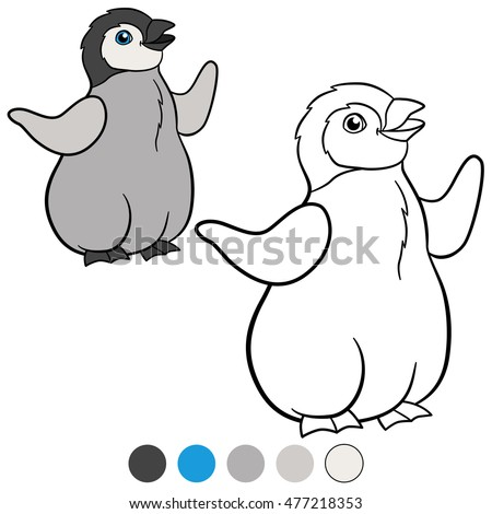 Coloring Pages Little Cute Baby Penguin Stock Vector 477218353 ...