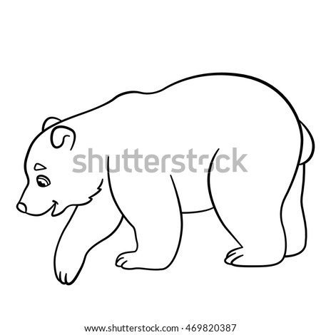 Coloring pages. Little cute baby polar bear stands and smiles.
