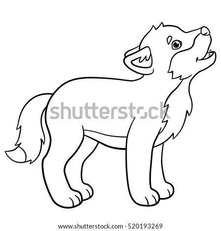 Coloring Pages Little Cute Baby Wolf Stock Vector 520193269 ...