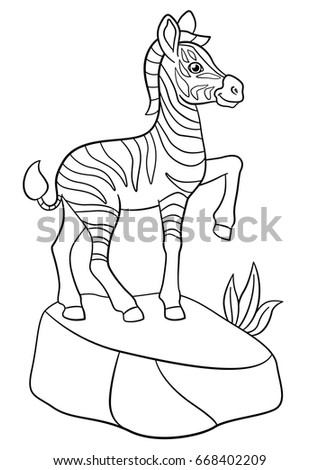 Coloring Pages. Little Cute Baby Zebra Stands On The Stone.