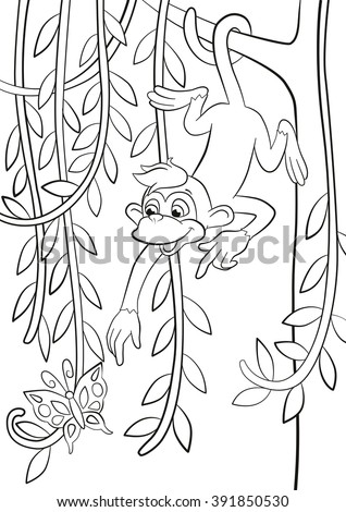 Coloring pages. Little cute monkey is hanging on the tree branch in the forest, smiling and poingting somethere. - stock vector