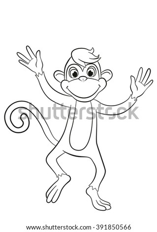 Coloring Pages Little Cute Monkey Jumping Stock Vector 391850566
