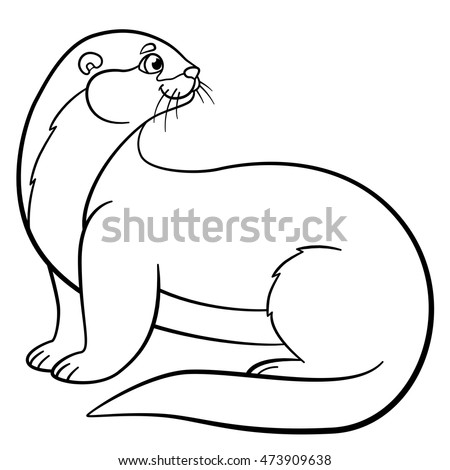 otter coloring page - baby sea otter stock images royalty free images vectors
