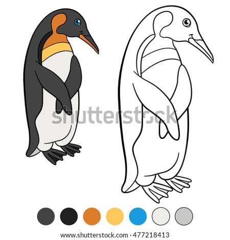 Coloring pages. Little cute penguin stands and smiles.