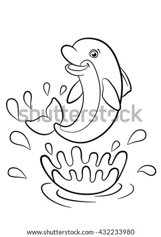 coloring pages marine wild animals mother stock vector 539567878 shutterstock. Black Bedroom Furniture Sets. Home Design Ideas