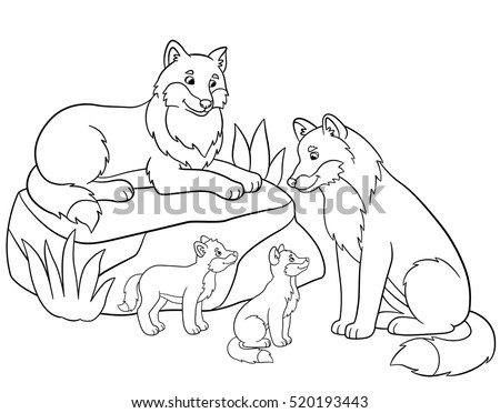 Coloring Pages Mother And Father Wolves With Little Cute Their Babies