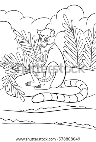 Coloring Pages Mother Lemur Sits On The Stone Near Sea With Her Little Cute