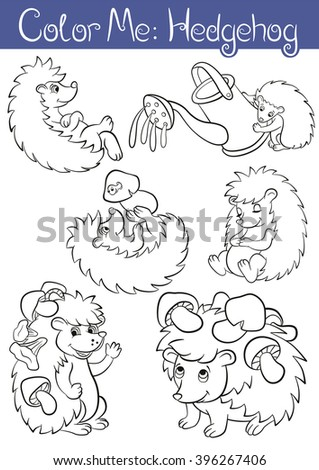 Coloring Pages Set Of Six Little Cute Hedgehogs They Are Smile Wave
