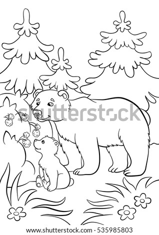 Coloring Pages Wild Animals Kind Bear Stock Vector 535985803 ...
