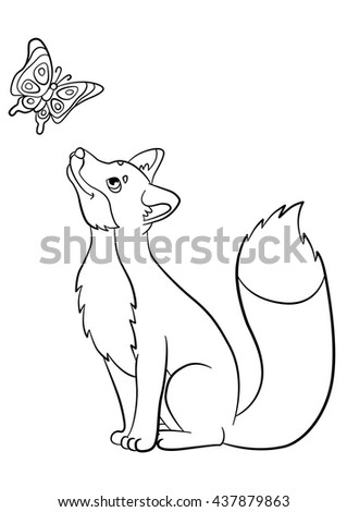 Coloring Pages Wild Animals Little Cute Fox Looks At The Butterfly And Smiles