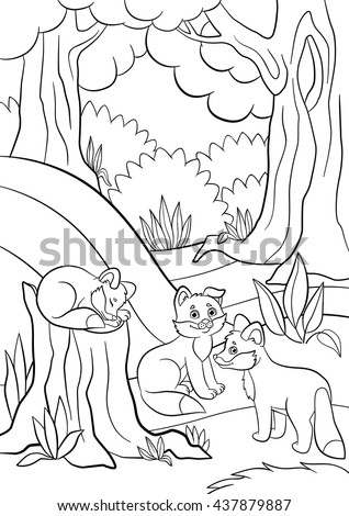 coloring pages wild animals three little cute baby fox in the forest
