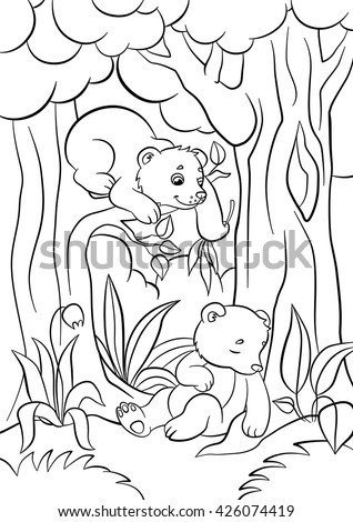 Coloring Pages Wild Animals Two Little Stock Vector HD Royalty Free